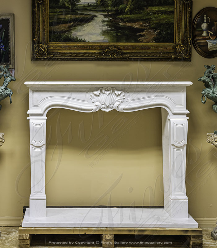 Antique Style White Marble Fireplace