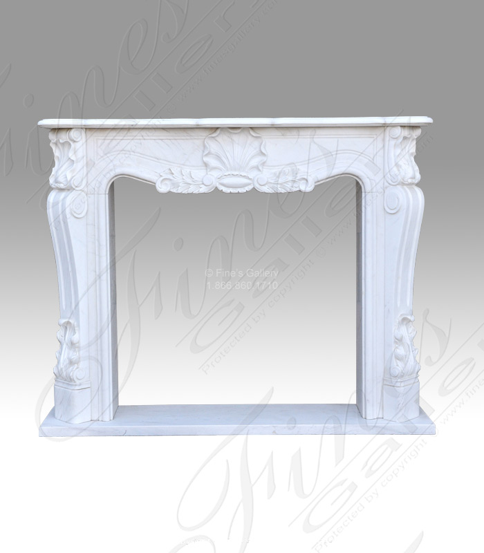 Clean French Mantel in Pure White Marble