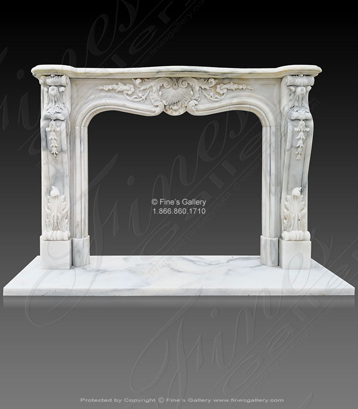 Rare exotic arabascato light marble fireplace