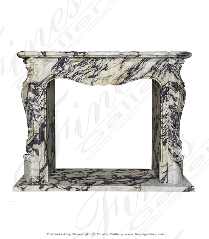 French Style Breccia Violette Marble Fireplace