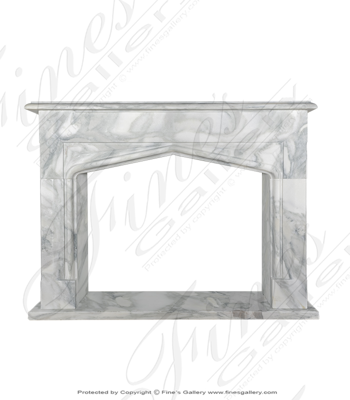 Tudor Style Arabascato Marble Fireplace Surround