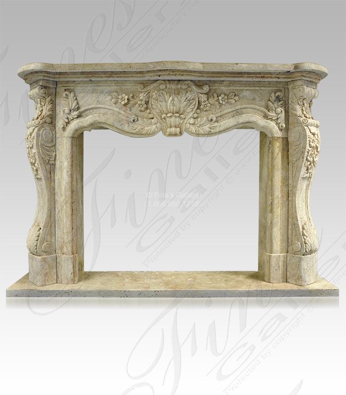 Antique Style Travertine Fireplace Mantel
