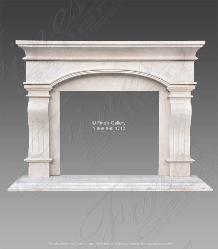 Transitional Cream Mantel in Solid Marble
