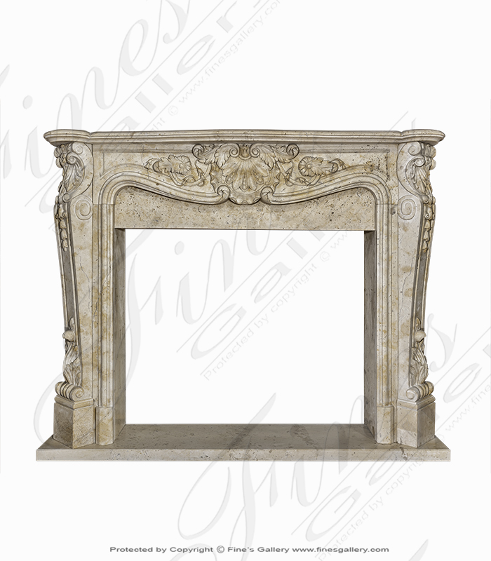 Beige French Style Marble Fireplace Surround