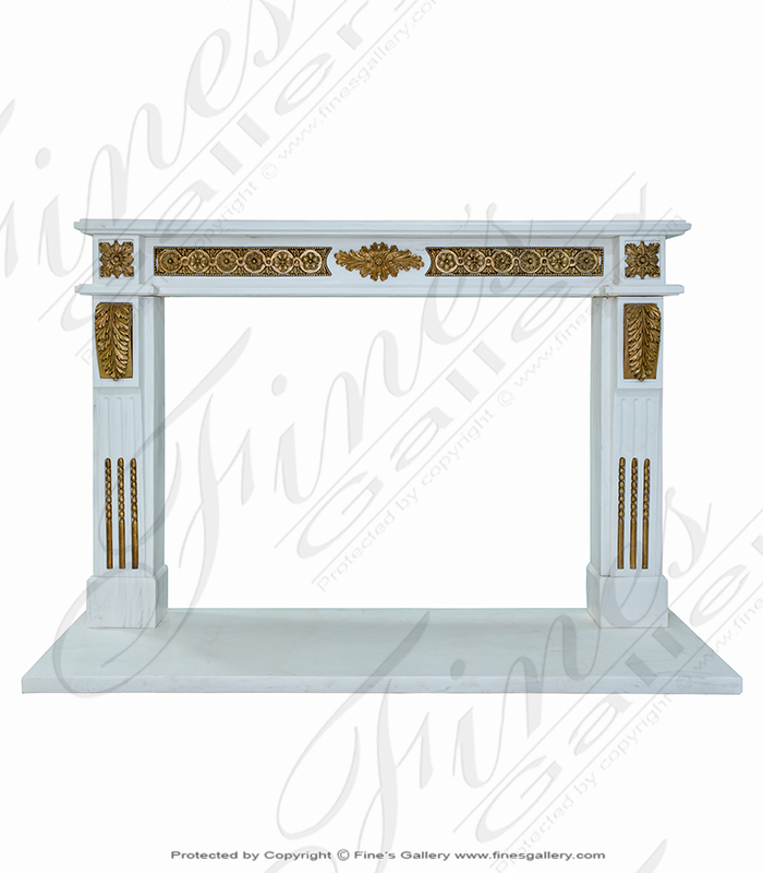 Statuary White Marble Louise XV Mantel with Bronze Scrollwork