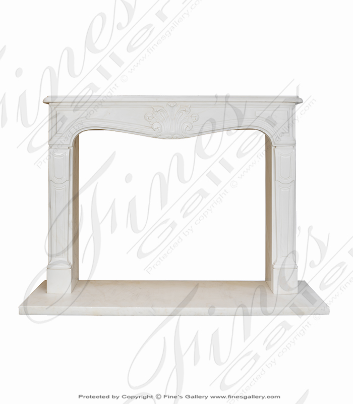 Marble Fireplaces  - Elegant French Statuary Marble Mantel - MFP-2047