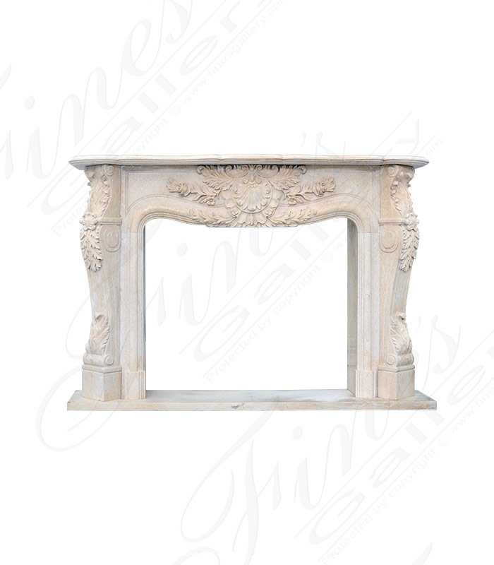 Marble Fireplaces  - French Fireplace In Cream Marble - MFP-2053