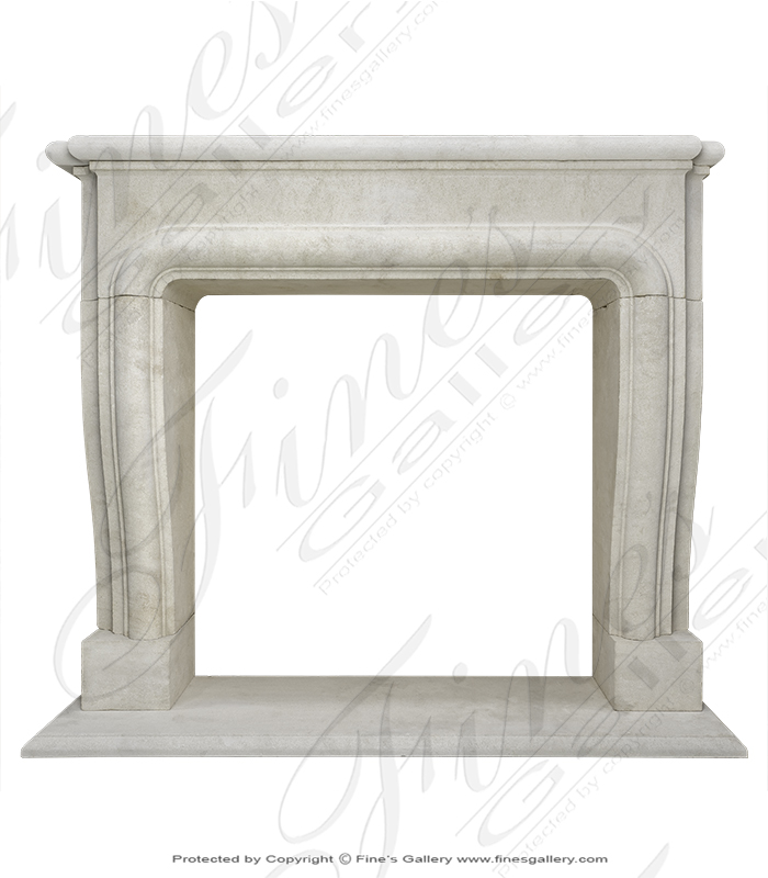 Marble Fireplaces  - Old World French Chauvigny Limestone Surround - MFP-2075