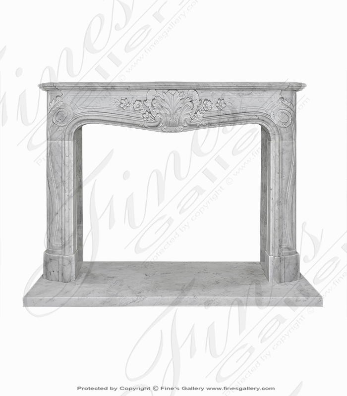 Pristine French Style Carrara Marble Fireplace