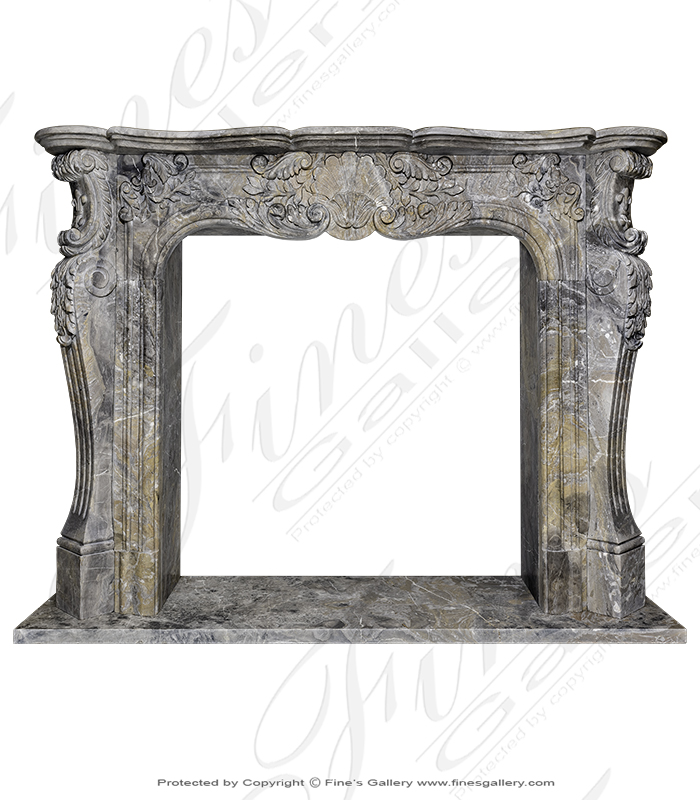 Rare Italian Orobico Marble Mantel in French Style
