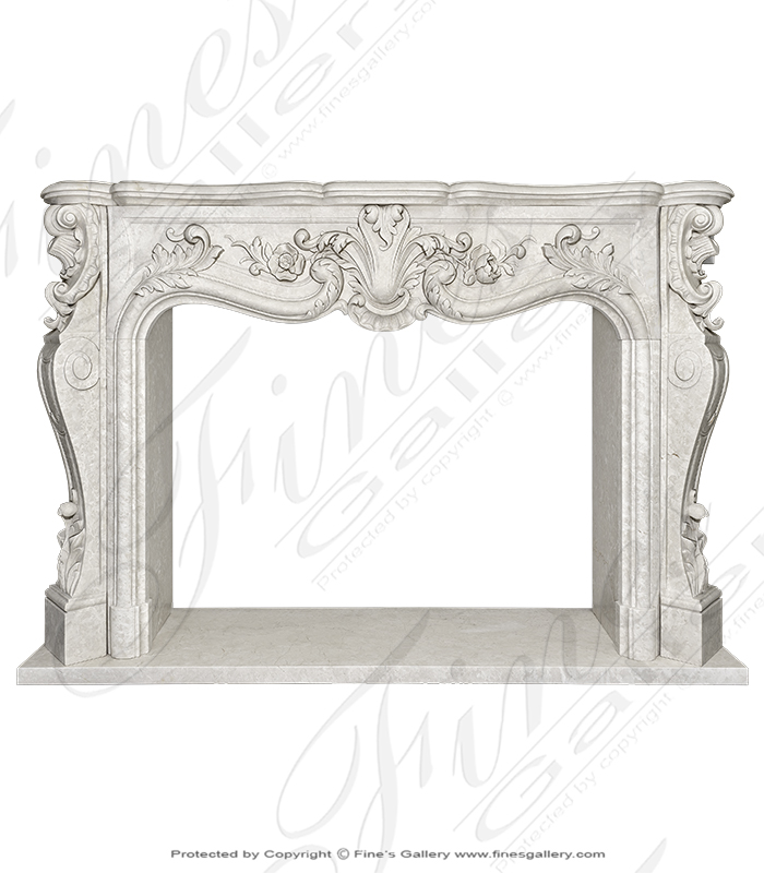 Finely Carved French Style Botticino Marble Mantel
