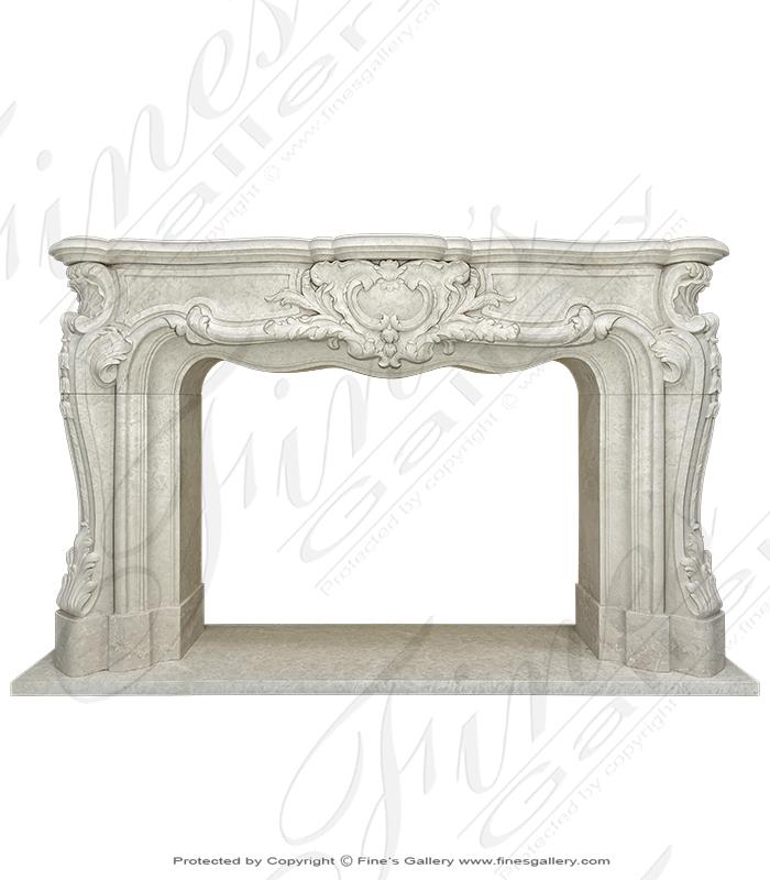 French Botticino Marble Louis XV Fireplace