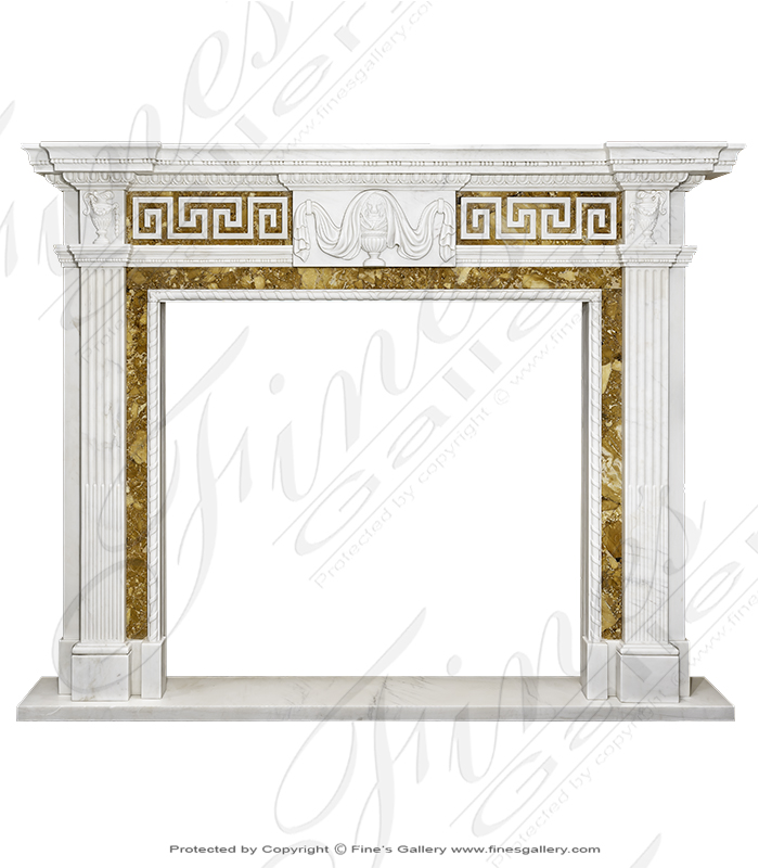 Greek Key Italian Marble Fireplace