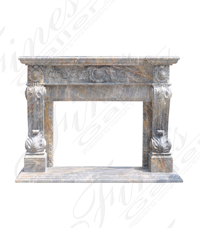 Breccia Antique Italian Style Marble Fireplace