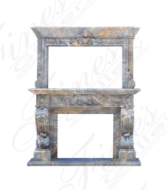 Breccia Antique Marble Overmantel with TV