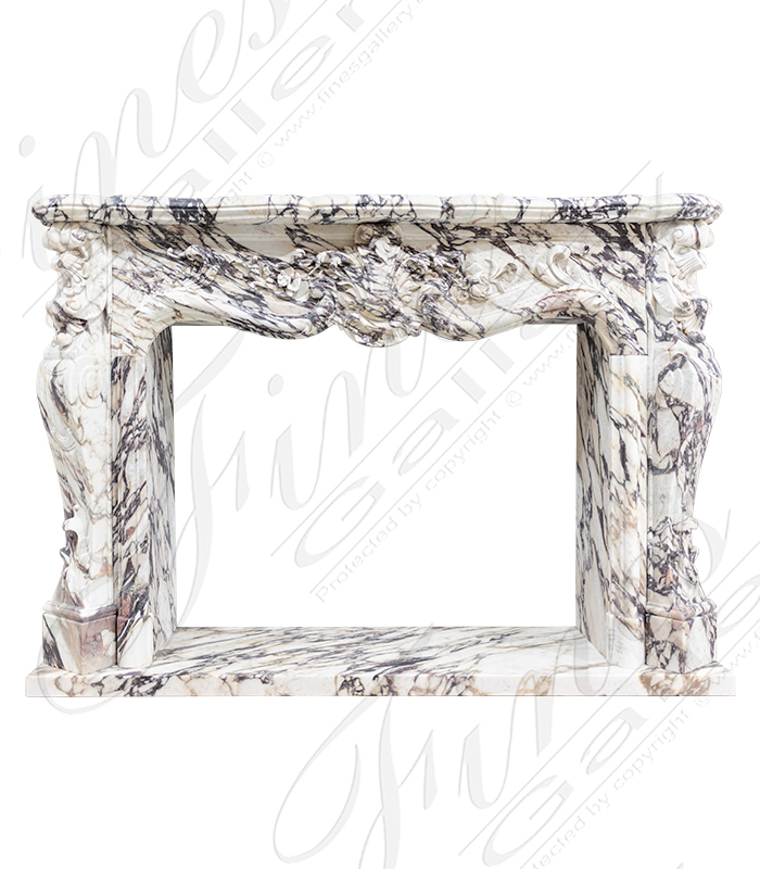 Breche Violette Ornate Louis XV Fireplace Mantel
