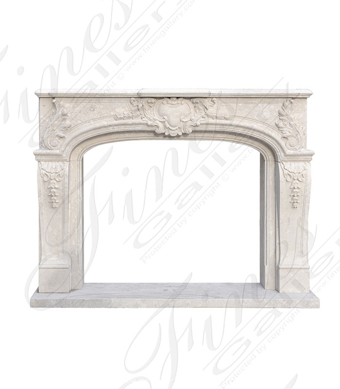 Italian Quarried Perlato White Marble Fireplace Mantel