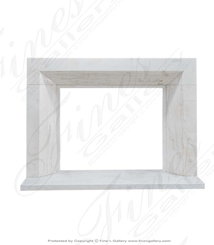 Modern Fireplace in Solid Statuary Marble