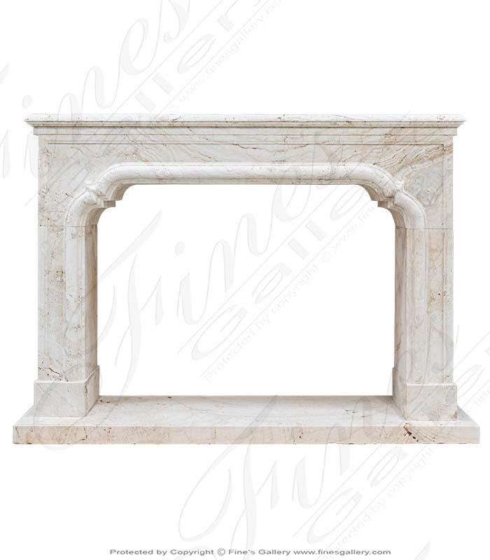 Italian Ivory Travertine Fireplace Mantel
