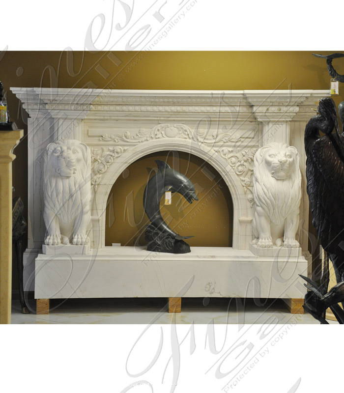 Ornate White Marble Lion Fireplace