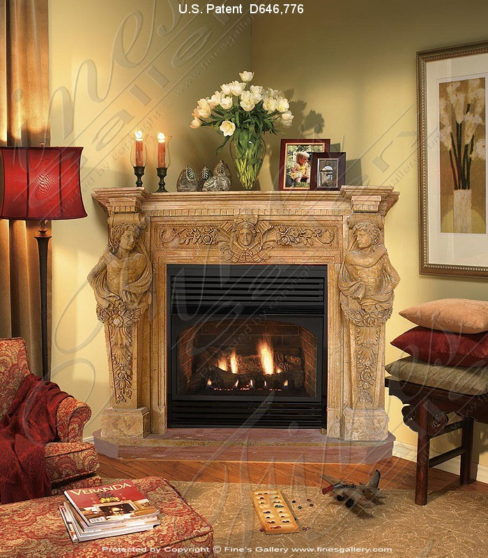 Corner Style Marble Fireplace