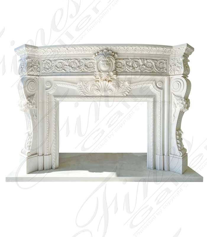 Elaborate Italian Style Mantel with Deep Relief