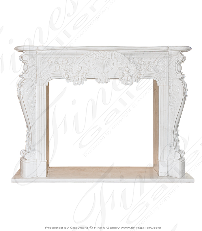 Beautiful Floral Garland French Style Marble Fireplace Mantel