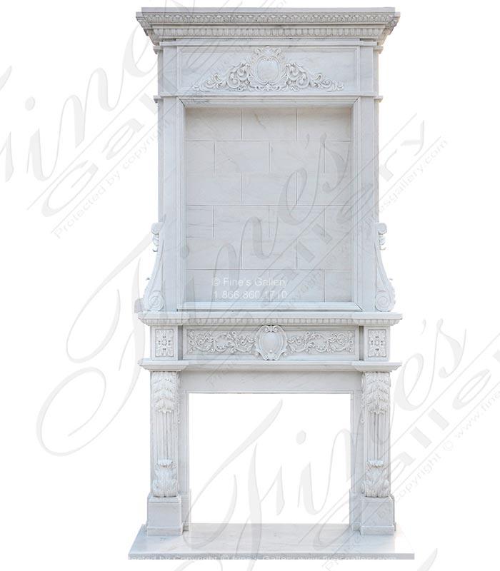 Ten Foot Tall Statuary White Marble Overmantel