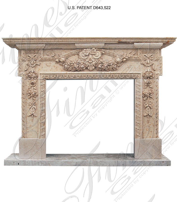 Large Floral Tan Marble Fireplace