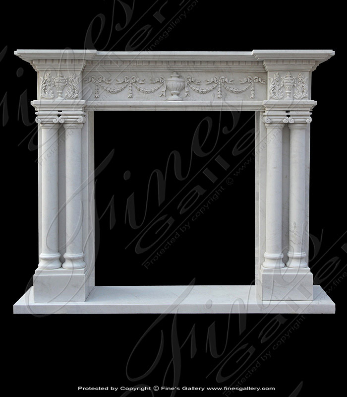 Columned Style Marble Mantel