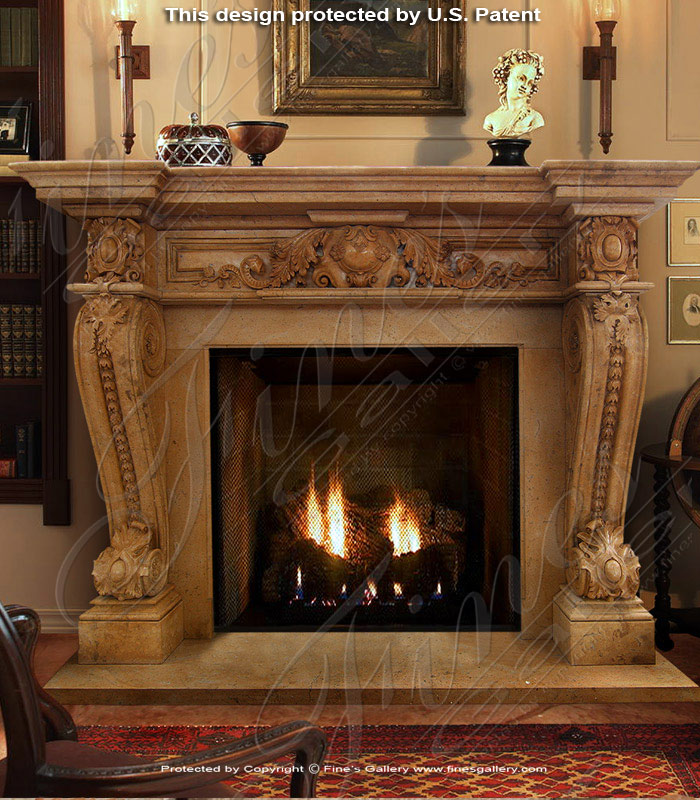 Honey Tan Marble Fireplace