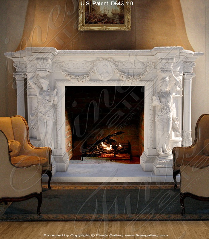 Marble Fireplaces  - Large Ornate Marble Fireplace - MFP-614