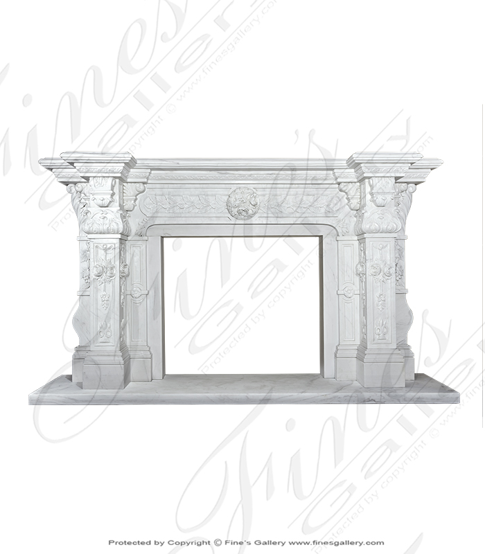 Ornate Italian Renaissance Marble Fireplace