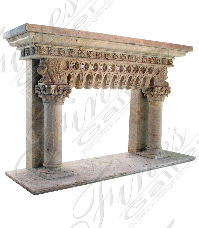Column Style Marble Fireplace