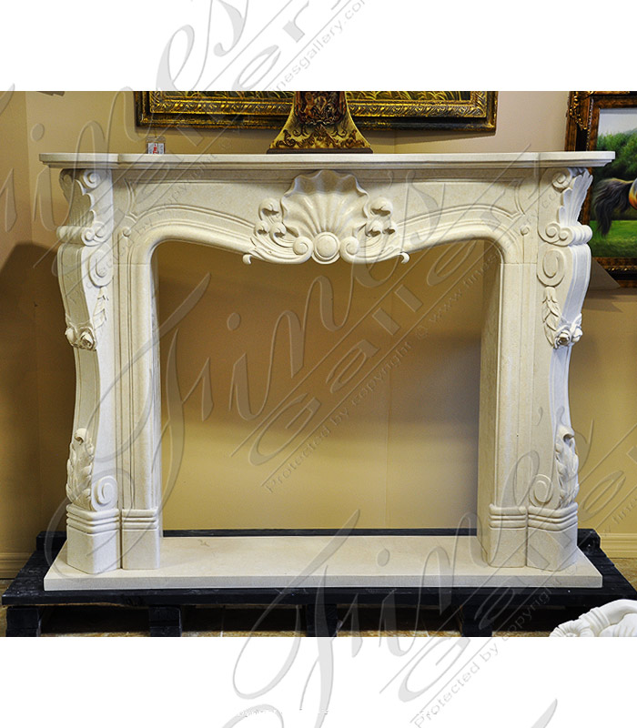 Floral and Shell Marble Fireplace