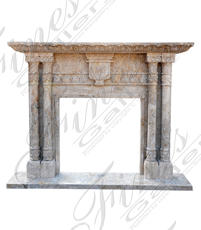 Leaf & Column Marble Fireplace Mantel
