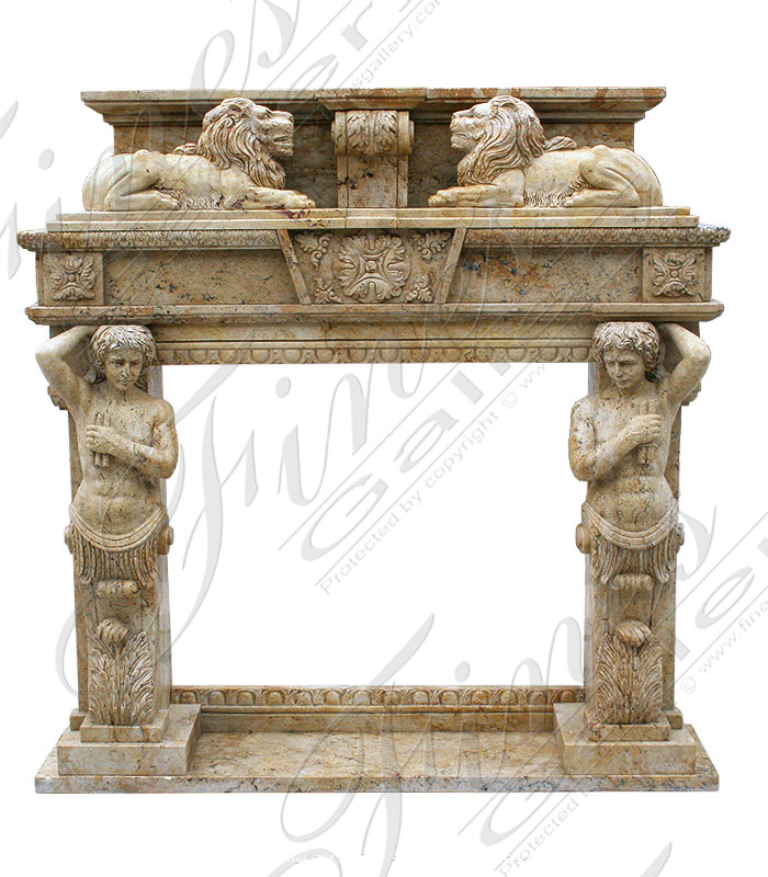 Marble Fireplaces  - White Marble Lions Fireplace - MFP-349
