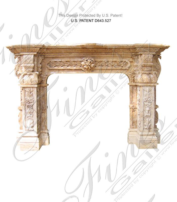 French Renaissance Style Travertine Fireplace Mantel