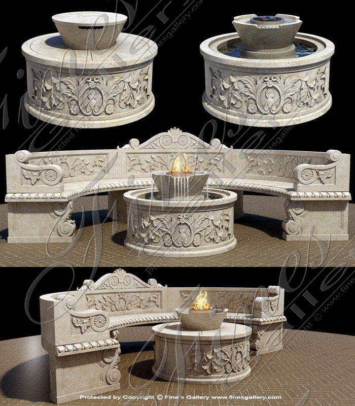 Marble Fire Pit and Fountain