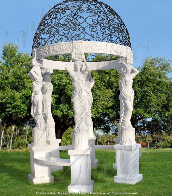 Marble Gazebos  - Greek Maidens Marble Gazebo - MGZ-225