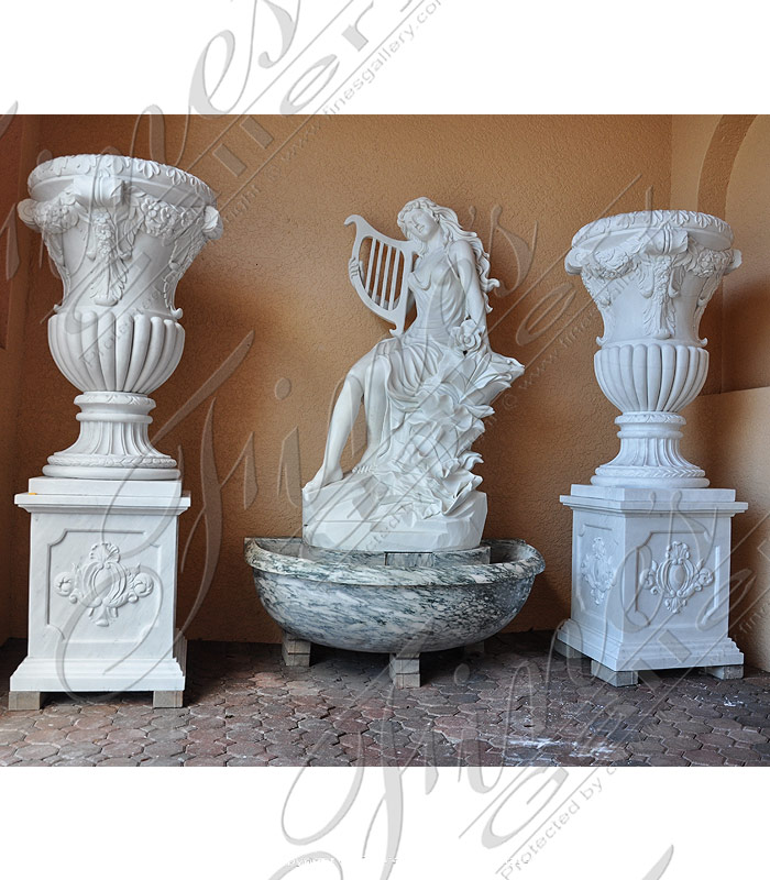 Ornate Luxury White Marble Planters