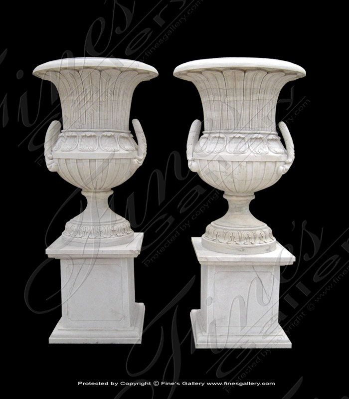 Marble Planters  - Ornate Luxury White Marble Planters - MP-317