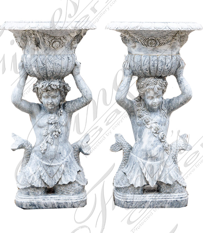 Boy and Girl Marble Planters