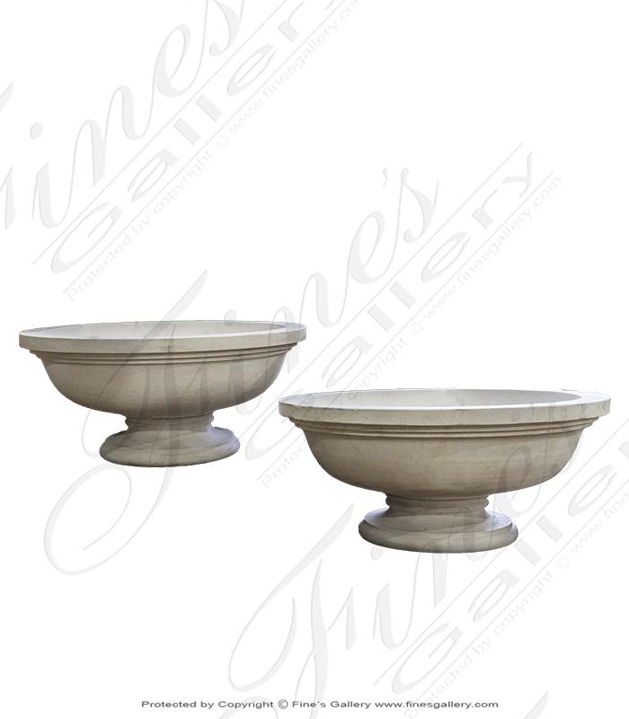 Contemporary Limestone Planter pair