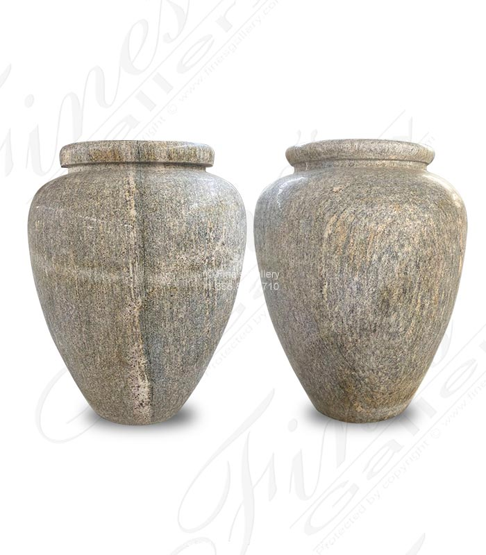 Antique Griggio Granite Pot Pair