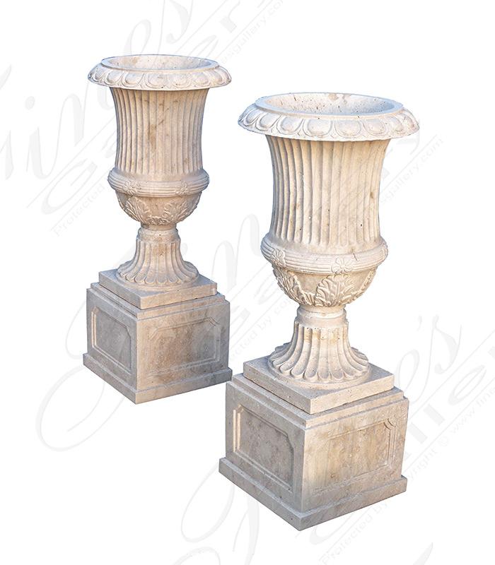 Roman Travertine Planter Pair