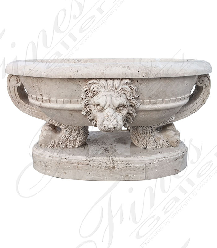 Stunning Carved Italian Roman Travertine Urn