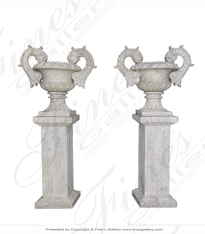 Hand Carved Italian Travertine Planter Pair