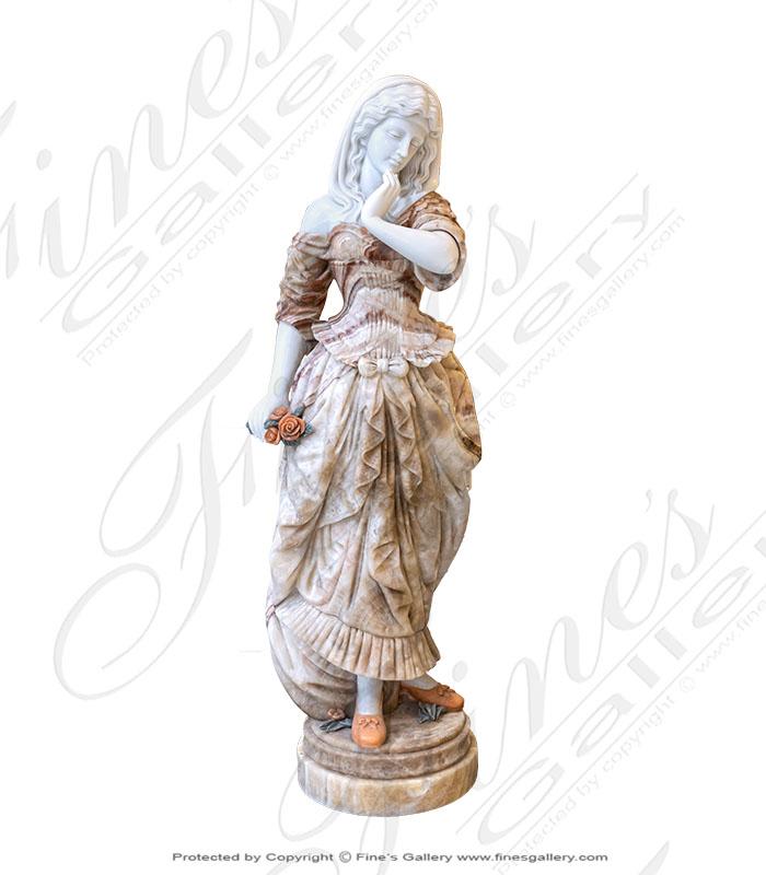 Marble Statues  - Cream Greek Marble Statue Pair - MS-1099