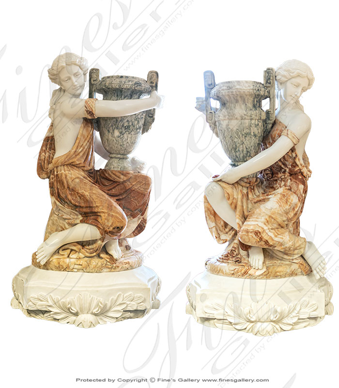 Kneeling Roman Marble Ladies